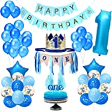 Party 1st Birthday Boy Decorations | Includes High Chair Burlap Decoration Supplies Set, First Royal Prince Boy Crown Hat, Happy Birthday Banner, ONE Cake Topper, Angle Wings Cake Flag, Confetti Marble Foil and Latex Balloons