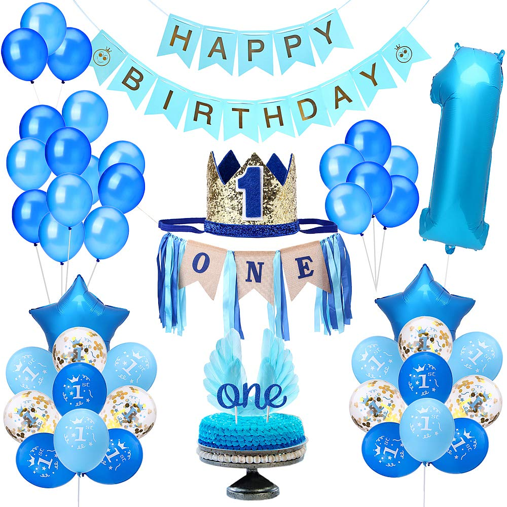 Party 1st Birthday Boy Decorations | Includes High Chair Burlap Decoration Supplies Set, First Royal Prince Boy Crown Hat, Happy Birthday Banner, ONE Cake Topper, Angle Wings Cake Flag, Confetti Marble Foil and Latex Balloons by TONGN