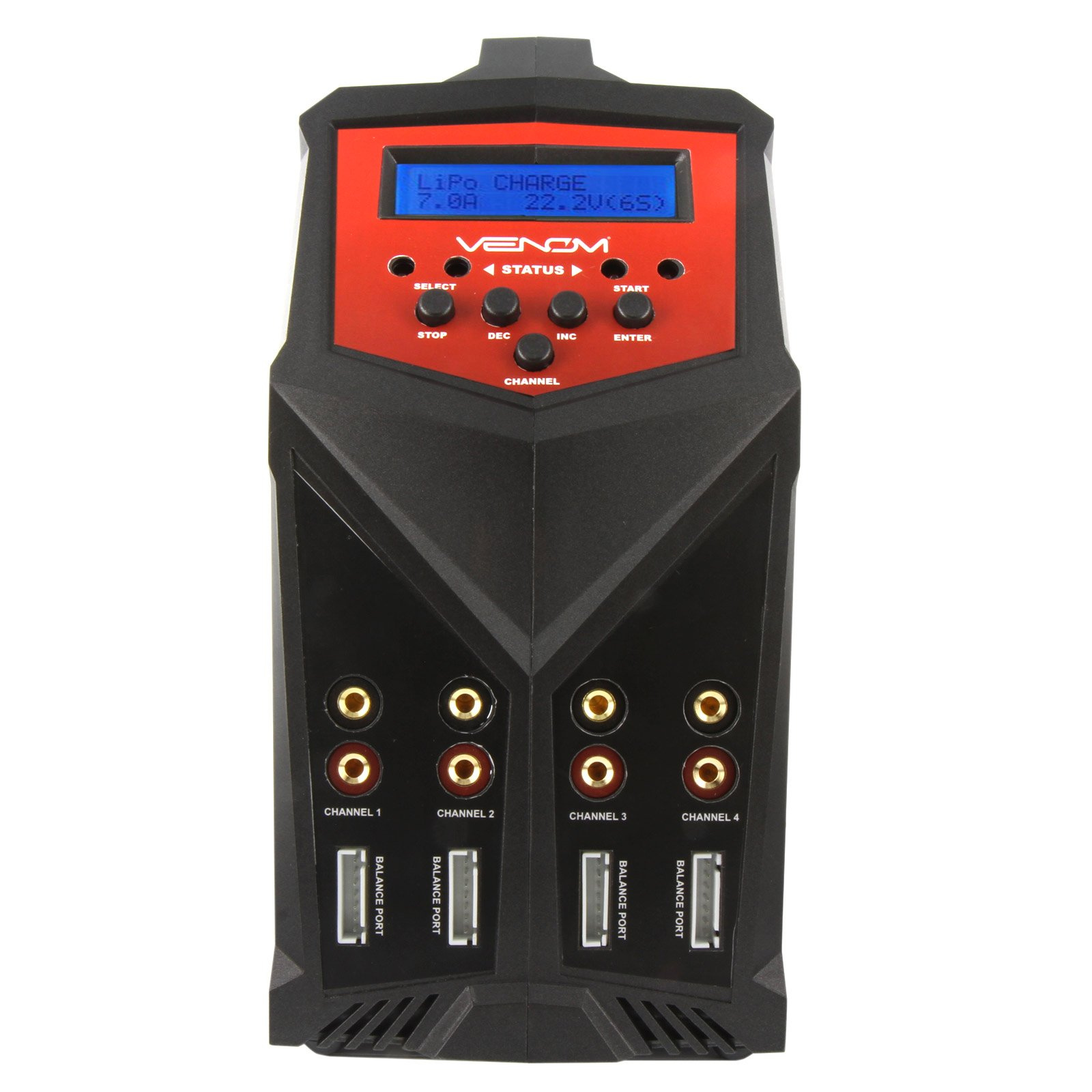 Venom Pro Quad 400 Watt (100W x 4) 7 Amp 4-Port AC/DC Multi-Chemistry LiPo, LiHV, NiMH Battery Balance Charger with Two 5V 2.3A USB Outputs with XT60, Deans, HXT, Tamiya, EC3, JST by Venom RC (Image #3)