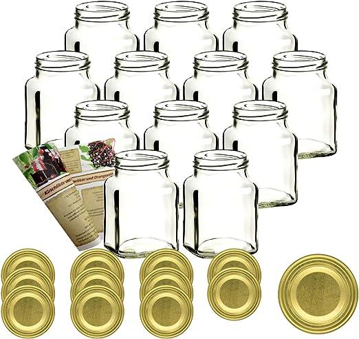 tarros de especias tarros de mermelada gouveo Juego de 36 tarros Mini 40 ml con cierre giratorio TO 43 negro tarros de inversi/ón tarros de almacenamiento tarros de conserva