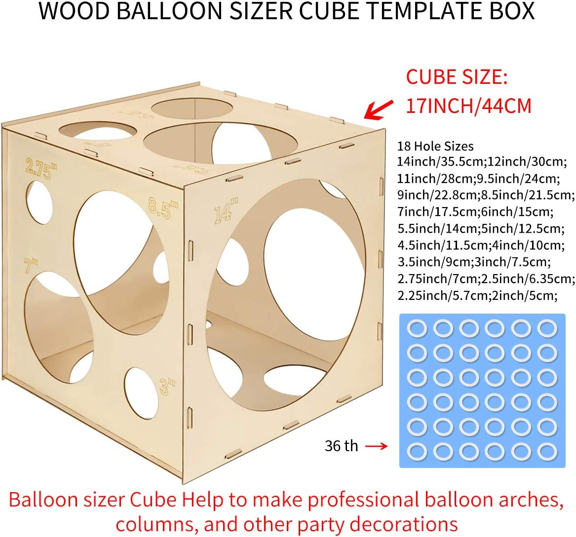 Balloon Arches Balloon Columns Large Balloon Size Measurement Tool for Balloon Decorations 2-14 Inch Worown 18 Holes Collapsible Wood Balloon Sizer Box Cube