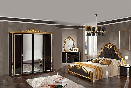 Lignemeuble Guetty Set Camera Da Letto In Stile Barocco Laccato Colore Nero E Dorato Amazon It Casa E Cucina
