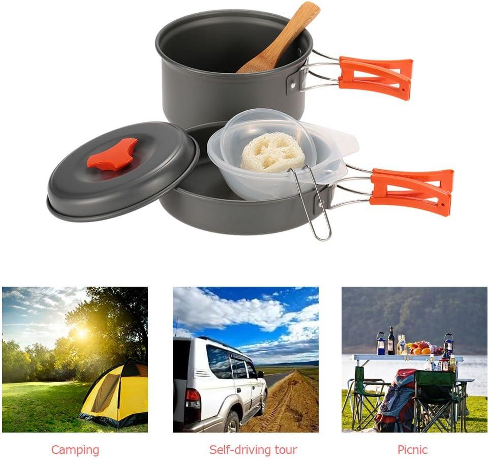 TOMSHOO Set de Cocina para Camping de Aleación de Aluminio 1-2 Personas Equipo Ideal para Senderismo Barbacoa Picnic al Aire Libre