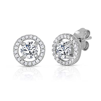 11a0d2368 Halo Round Stud Earrings in .925 Sterling Silver with Simulated Birthstone  and CZ (April