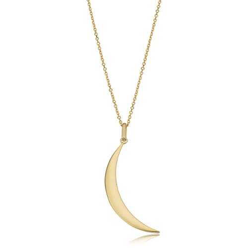 f26070ea65fc4 Kooljewelry 10k Yellow Gold Crescent Moon Pendant on Cable Chain Necklace  (18 inch)