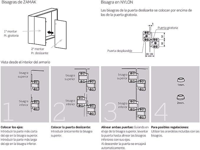 Kit de herrajes correderos para puertas de muebles, armarios, roperos, plegables, con nueva opción suave: Amazon.es: Bricolaje y herramientas