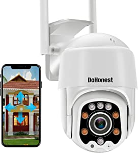 WiFi Security Camera Outdoor, DoHonest S02 HD 1080P IP Camera Home Security System with 360° View,Motion Detection, auto Tracking,2 Way Audio,Night Vision,IP66 Waterproof Cloud Camera Works with Alexa
