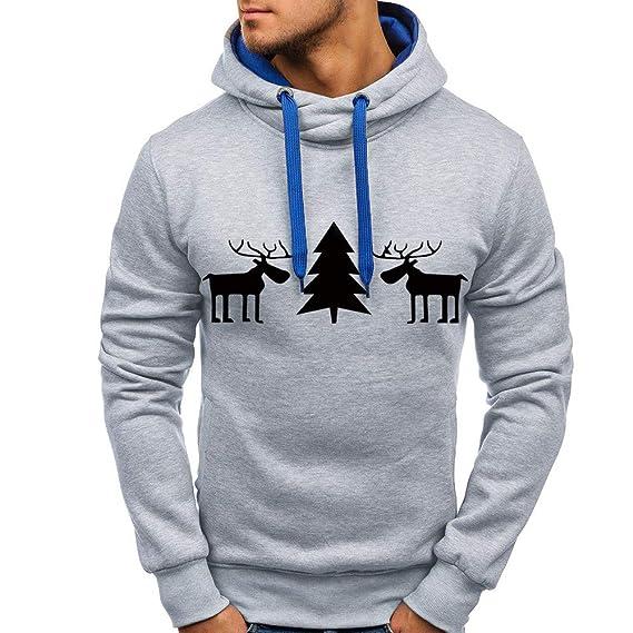 beautyjourney Sudadera de Navidad para Hombres Tops, Sudadera con Capucha Deportiva de Manga Larga Casual Jersey Ajustado Tramo Chaqueta Deportiva Outwear: ...