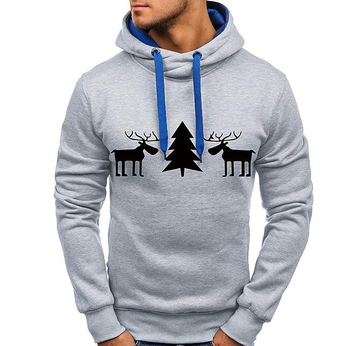 Hombre Otoño Invierno Pullover Top Impreso Navidad Sudadera Outwear Blusa de Internet