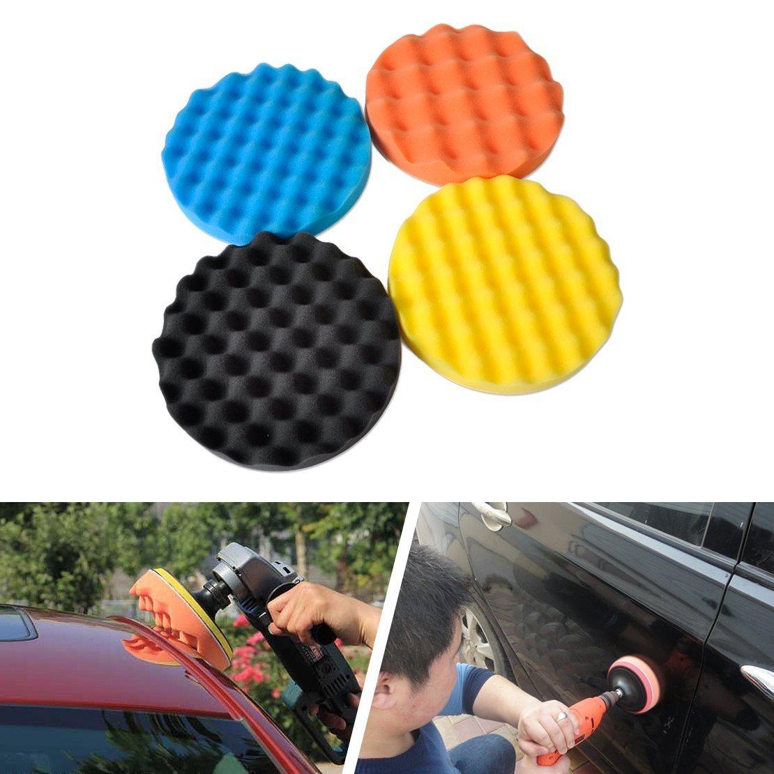 SHINA 4Pcs 7 inch Buffing Polishing Sponge Pads Kit For Car Polisher Buffer by SHINA (Image #2)