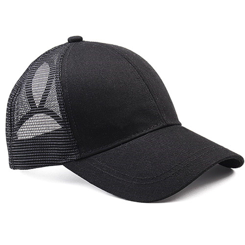 2018 Ponytail Baseball Cap Women Messy Bun Baseball Hat Snapback black