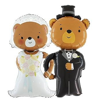Das Hochzeits Set Brautpaar Braut Brautigam Baren Ballons Je