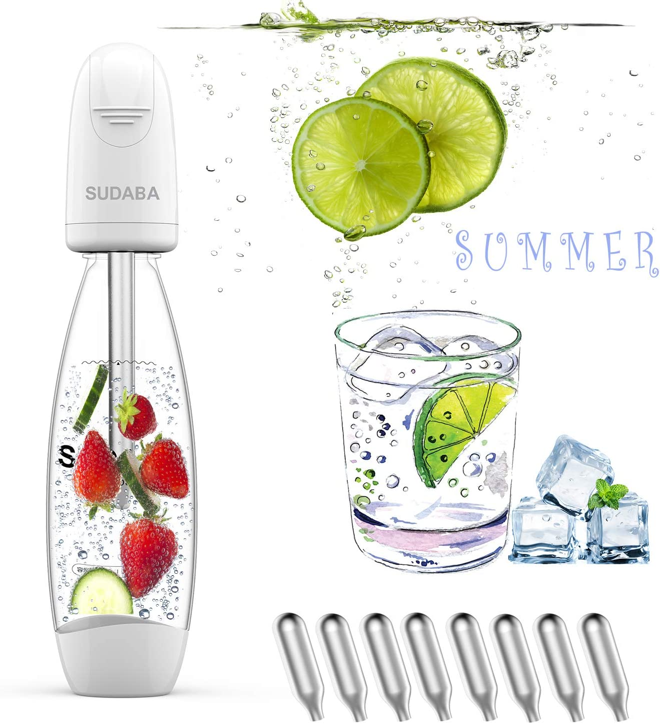 Portable Soda Water Maker Homeow Fizzi Sparkling Water Bottle SUDABA Mini Soda Machines for Homemade Soda Stream BPA free 8 Standard 8g CO2 Cylinder Canister Charger Seltzer Carbonated Summer