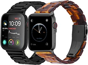 Fullmosa Compatible Apple Watch Stainless Steel Band 40mm 38mm Black & Compatible Apple Watch Resin Band 40mm