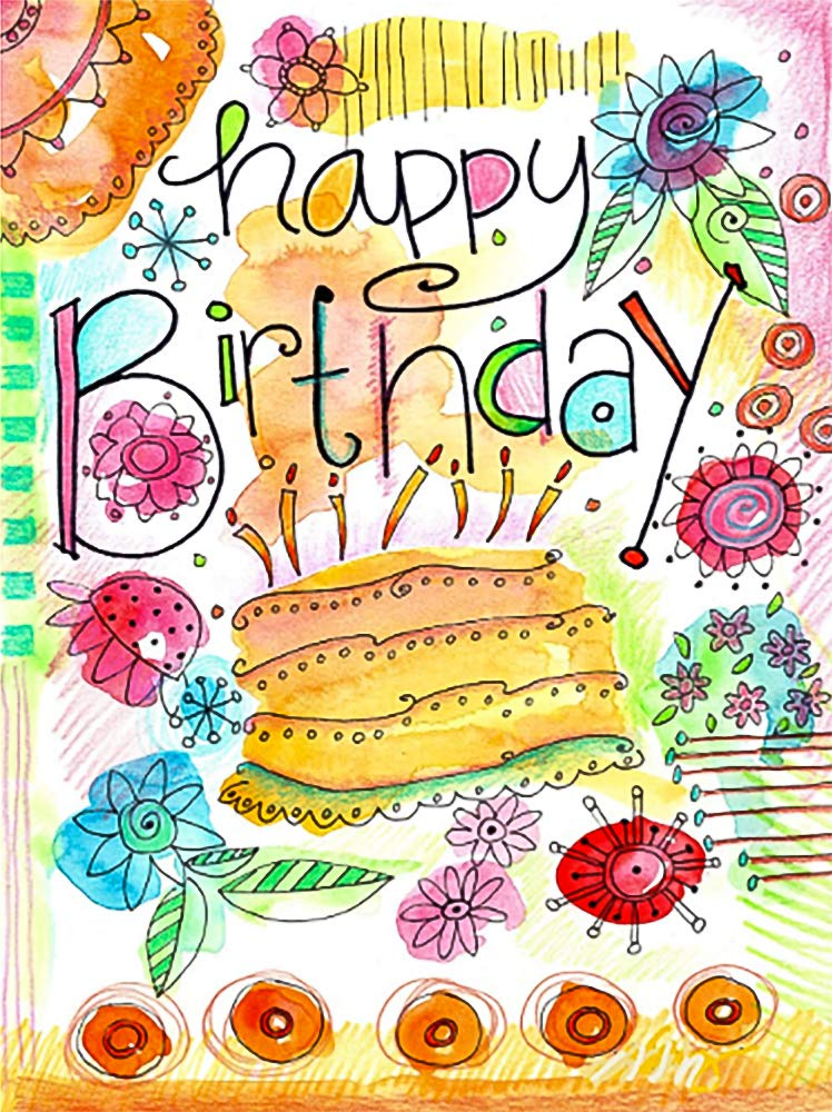 "Happy Birthday Watercolor Cake and Candles Decorative Garden Flag, Double Sided, 12"" x 18"" Inches, Outdoor Banner"
