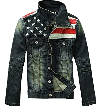 Tootless Men Usa Flag Stand Up Collar Denim Jacket With Pockets At