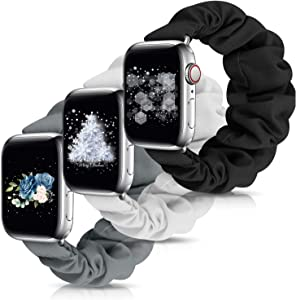 Scrunchie Elastic Watch Band Apple Watch Series 5 Band Compatible Apple Watch Band 38mm 40mm 42mm 44mm, Cute Elastic Scrunchy for Apple Watch Series 6 5 4 3 2 1(Black+Grey+Ivory-38mm/40mm S)