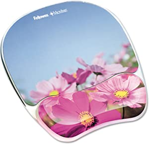 Fellowes 9179001 Gel Mouse Pad w/Wrist Rest, Photo, 9 1/4 x 7 1/3, Pink Flowers