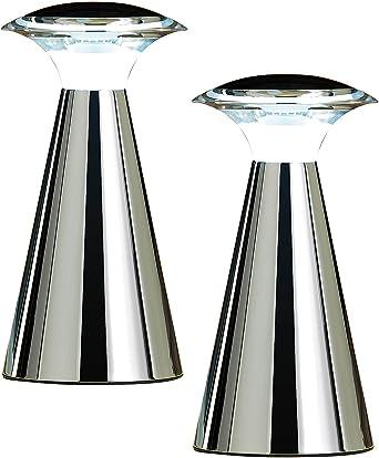 Lunartec Lampen Ohne Kabel Edelstahl Led Tischleuchte 2er Set Led Tischlampe Mit Batterie Amazon De Beleuchtung