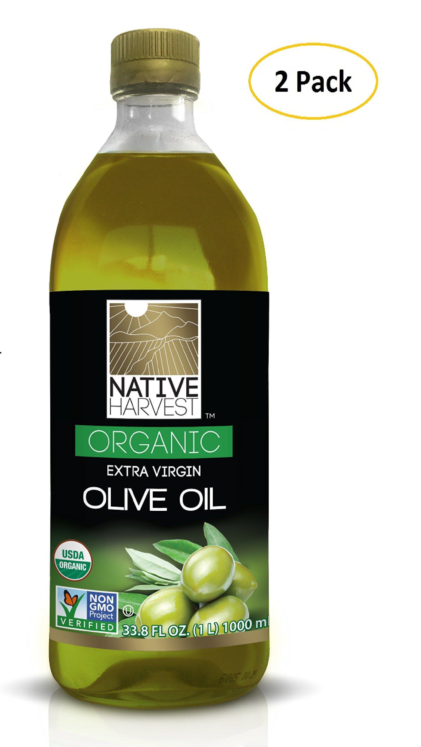 Native Harvest Organic Non-GMO Naturally Expeller Pressed Sunflower Oil, 1 Litre (33.8 FL OZ) 2 Packs