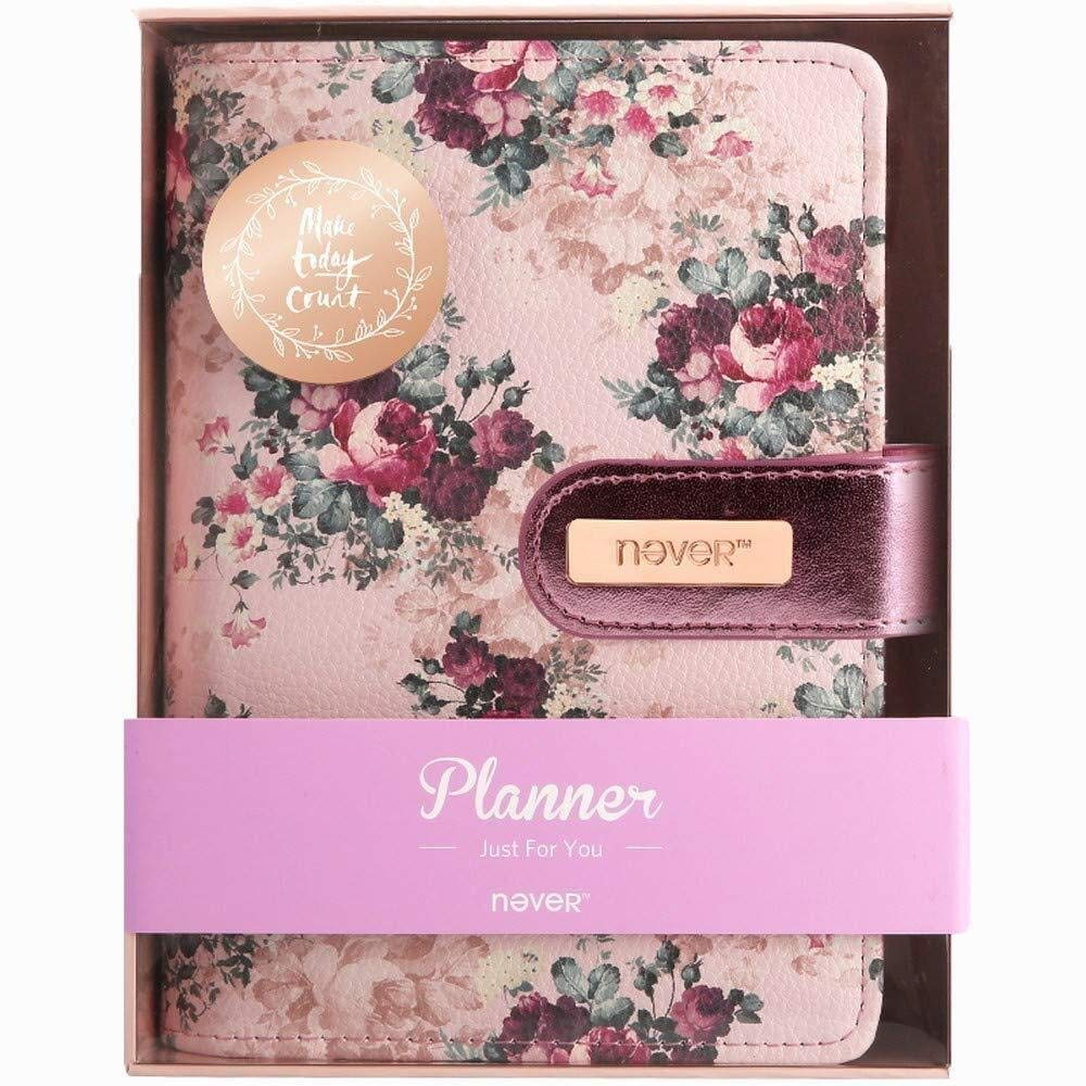 LG-EZWH Women's Handbook, Loose Leaf Plan, Cute PU Leather Flowers Cover, Weekly Schedule Book Diary Week to View Diary Notebook