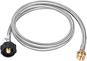 GGC 6Feet Stainless Steel Braided Propane Adapter Hose,1Lb to 20Lb Propane Conversion for Type1 LP Tank/QCC1,Bulk Portable Appliance and Gas Grill-CSA Certified