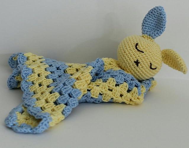 Manta de apego para bebé Azul y Amarillo Conejito: Amazon.es: Handmade