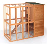 LAZYMOON Cat House Outdoor Run Wooden Cat Rabbit Home w/Outside Fun Run Small Animal Enclosure Cage