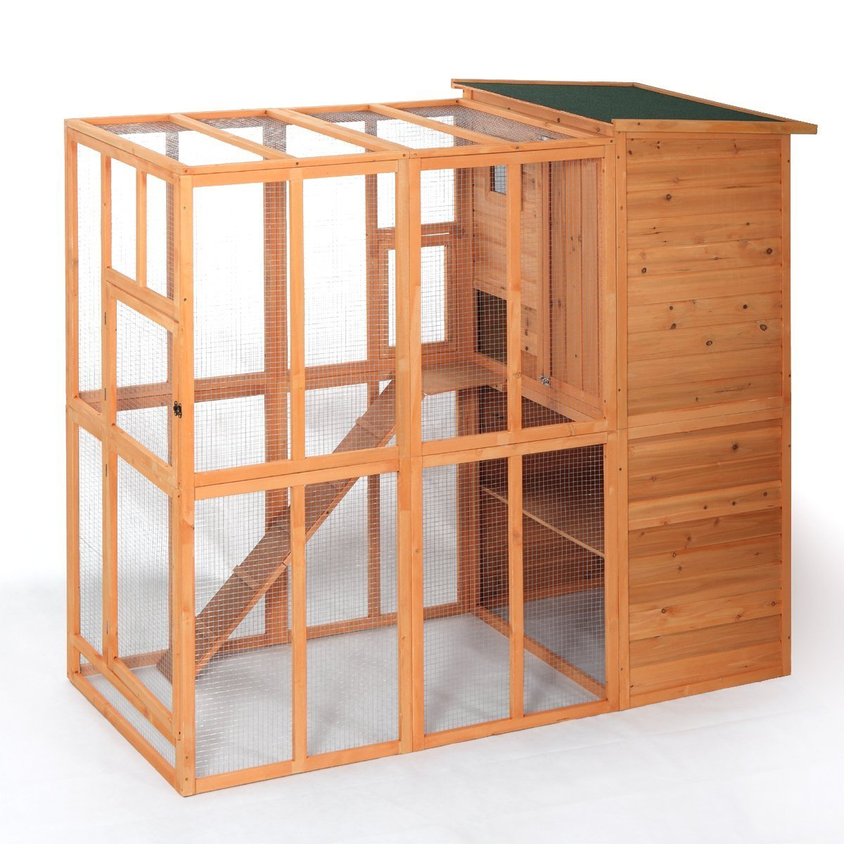 LAZYMOON Cat House Outdoor Run Wooden Cat Rabbit Home w/ Outside Fun Run Small Animal Enclosure Cage