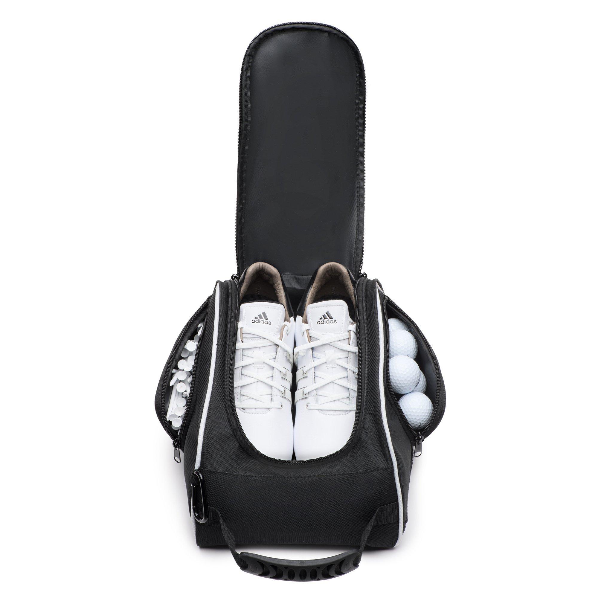 DesignWorks Golf Shoe Bag Tote for Men and Women, Hanging Clip and Large Zippered Side-Pockets, includes Golf Accessories Bonus by DesignWorks (Image #3)