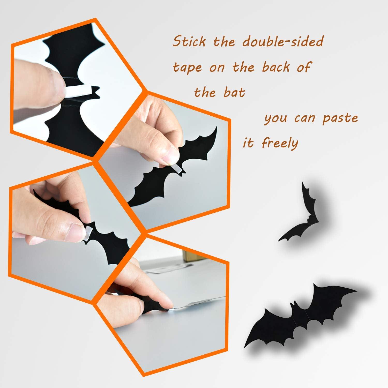 Black Reusable PVC Bats Wall Decoration for Halloween DIY Home Window Clings Decorations ZeeDix 180Pcs 3D Scary Bats Sticker