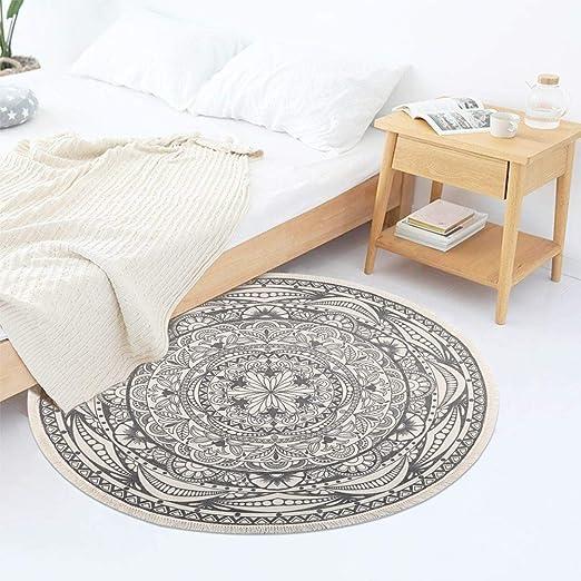 Alfombra redonda Pauwer hecha a mano, de algodón, con borlas ...