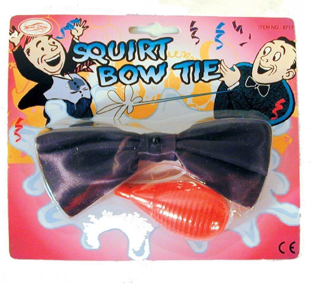 2 SILKY BLACK SQUIRT BOW TIE prank #123 squirting tricks bowtie magic gags jokes