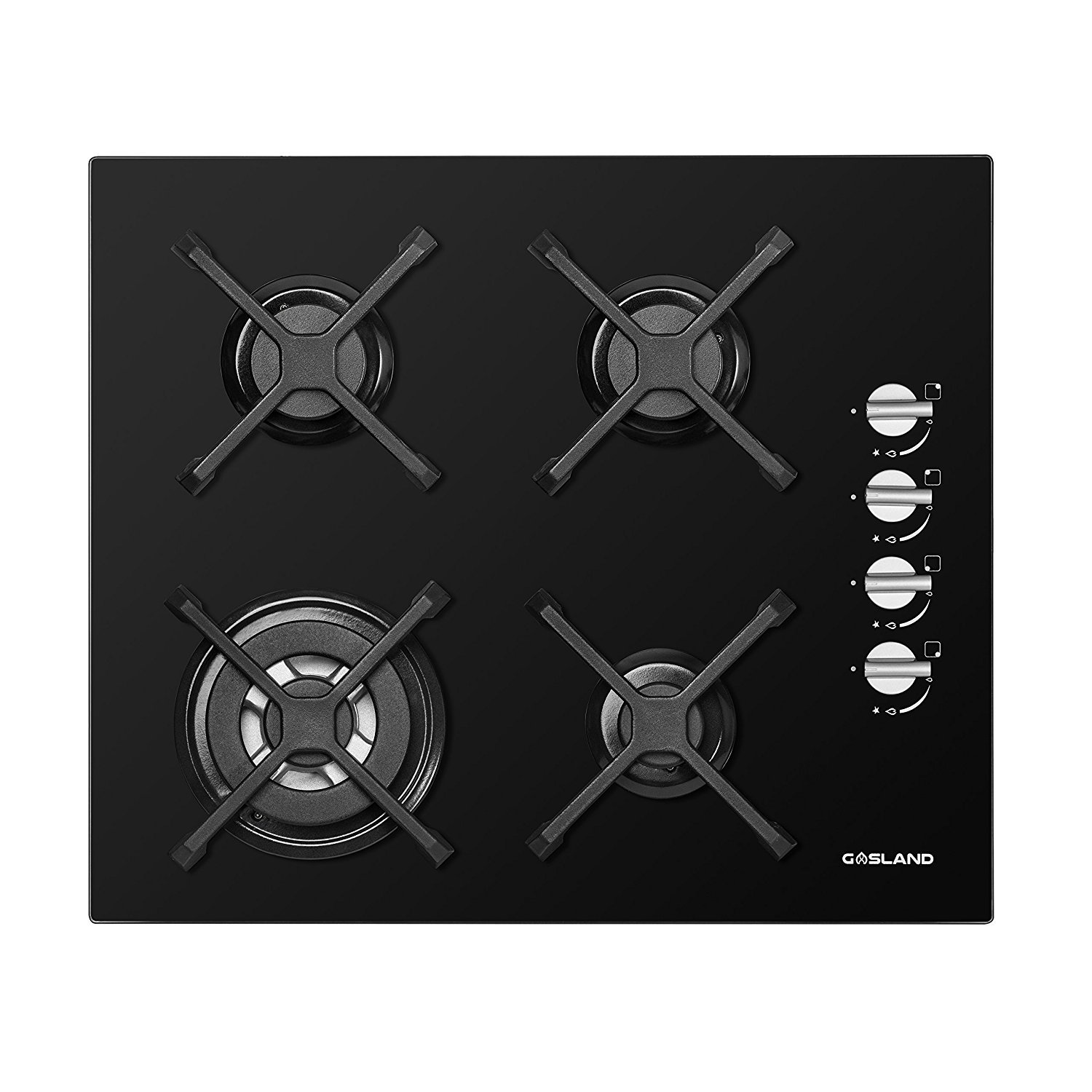GASLAND chef GH60BS 60cm Built-in 4 Burner Gas on Glass Hob Cooker Cooktop with FFD in BLACK Camplux