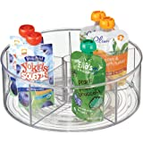mDesign Divided Lazy Susan Turntable Storage Container for Kitchen Cabinets, Pantries, Refrigerator, Countertops - BPA Free & Food Safe – Spinning Organizer for Kids, Baby/Toddler, 5 Sections - Clear