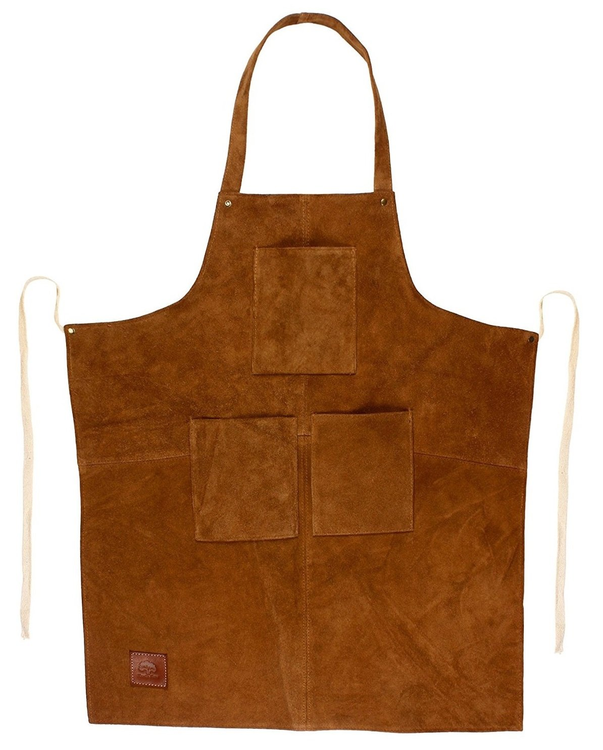 Rustic Town Genuine Leather Grill Work Apron with Tool Pockets ~ Adjustable up to XXL for Men & Women ~ Gift Ideas for Him Her (Tan)  Price: £34.99