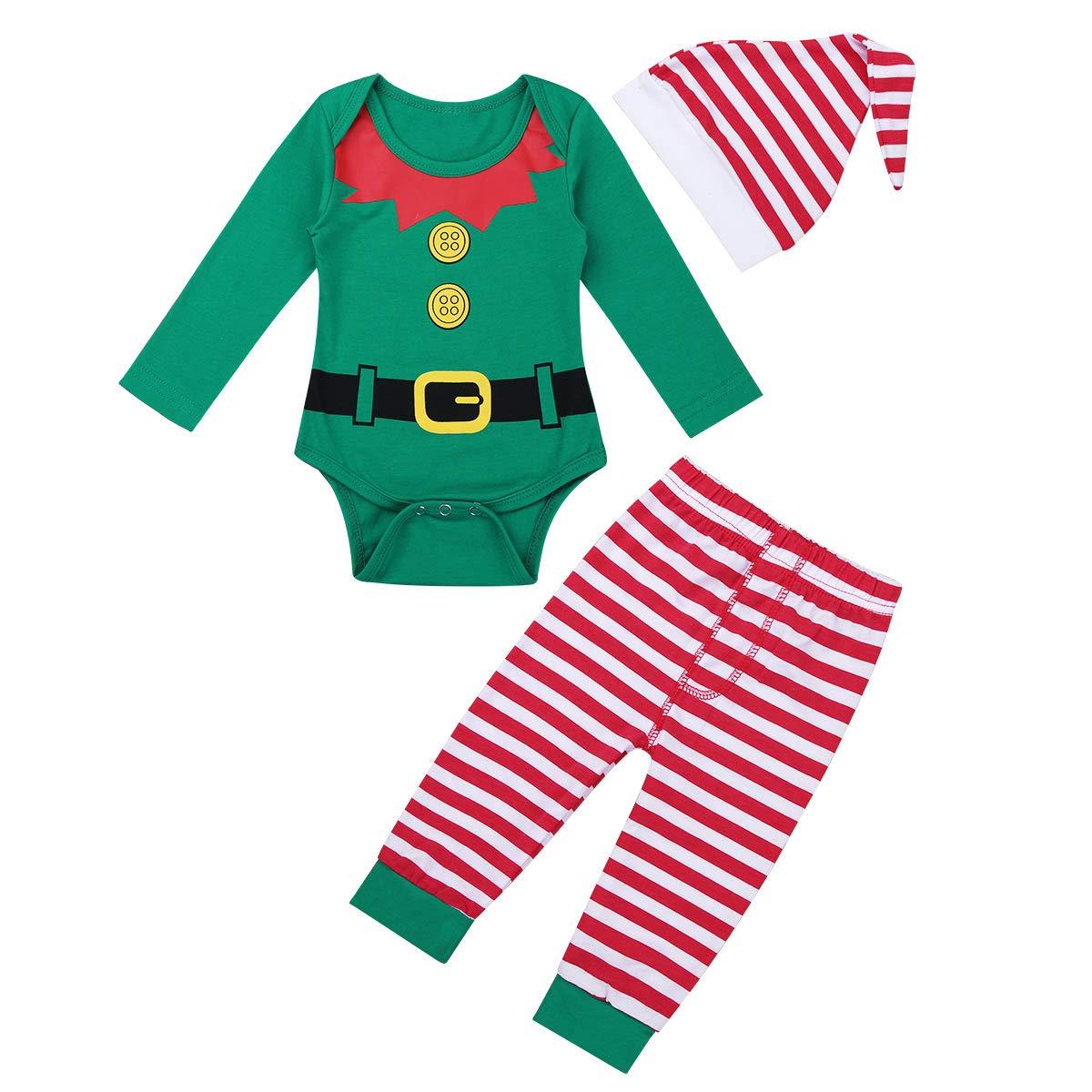 Freebily Baby Strampler Kleinkind Weihnachtsoutfit Weihnachten Babykleidung 3 Stück Baby Mädchen Jungen Weihnachtskostüm Overall Langarmshirt Hose Mütze