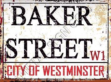 Pequeño Baker Street London Calle metálica retro estilo vintage garaje cobertizo taller Bar Pub Wall Art Oficina Sala de juegos de Sherlock Holmes: ...