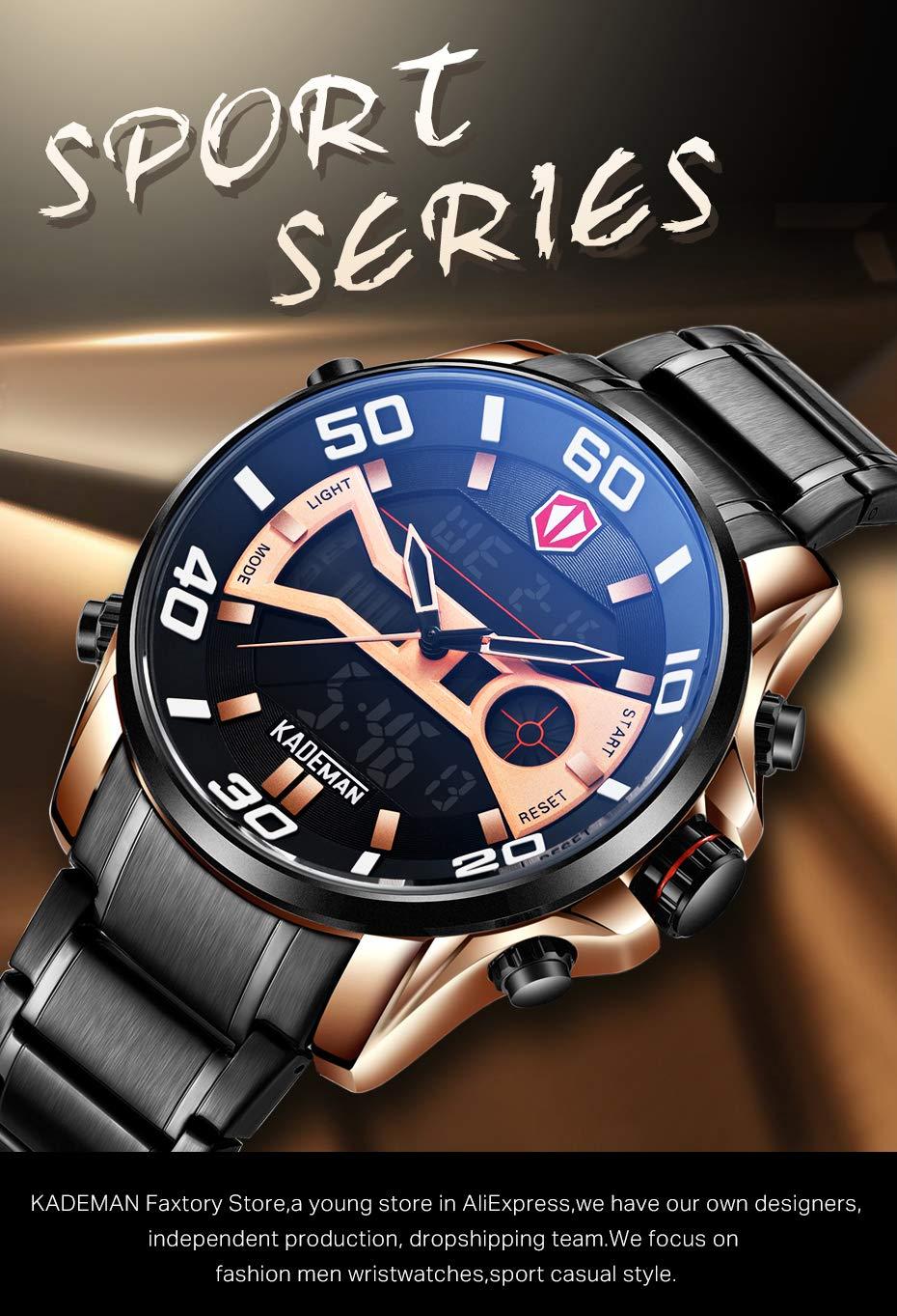 KADELXHDSB Relojes Hombre Tech Led Sport Hombre Reloj Full Steel ...