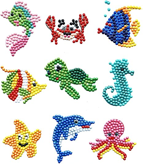 Generies 37Pcs Diamond Painting Stickers Kits for Kids,5D DIY Woodland and Sea Animals Diamond Art Mosaic Stickers