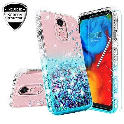 LG Rebel 4 Case,LG Aristo 3 Case,LG Zone 4/LG Phoenix 4/LG Risio 3/Aristo 2  Plus Case w[Temper Glass] Cute Liquid Glitter Phone Case Cover Shock Proof