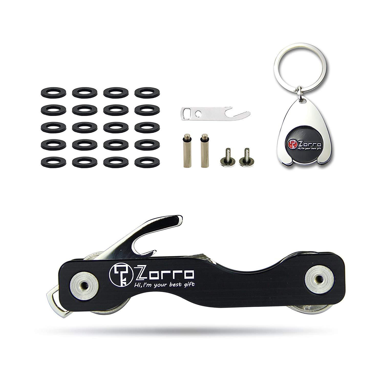 Zorro Smart Compact Key Holder Keychain - Smart Pocket Organizer Up to 18 Keys -Includes Bottle Opener,Commemorative Coin,Phone Stand(Black) (Black) (1)