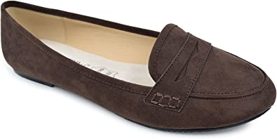 Greatonu Womens Faux Suede Comfort Slip on Pointed Toe Loafer Flat Shoes