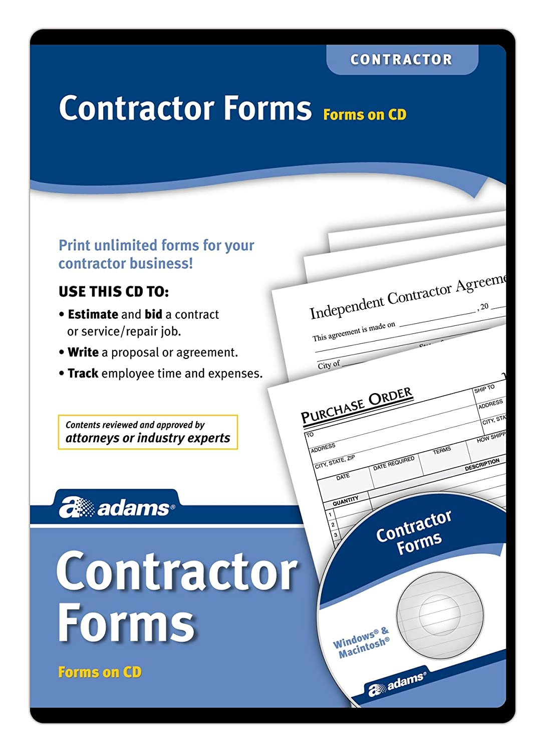 com adams contractor s forms on cd ss legal forms com adams contractor s forms on cd ss4301 legal forms office products