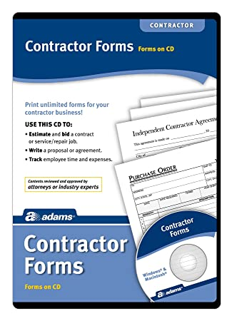 Amazon.Com : Adams Contractor'S Forms On Cd (Ss4301) : Legal Forms