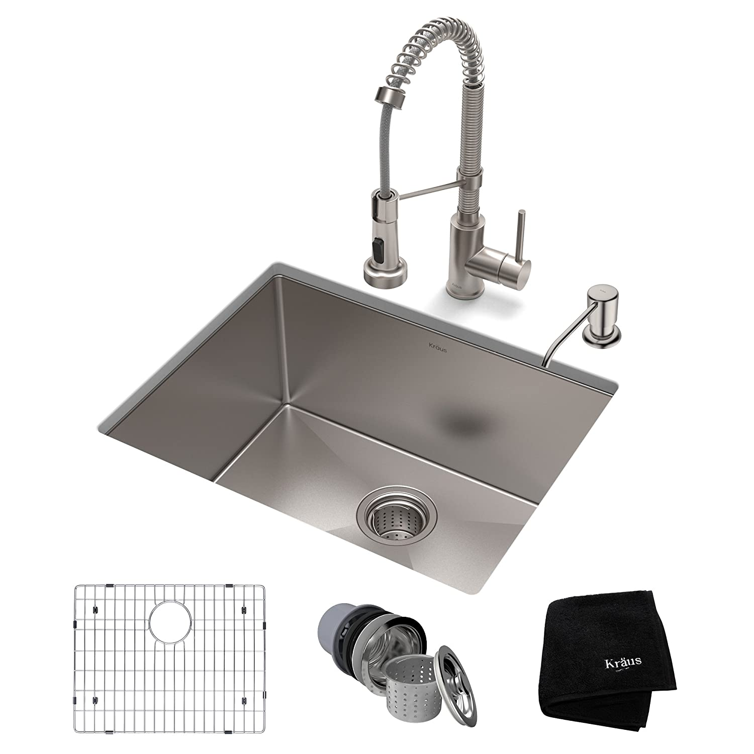 KRAUS KHU101-23-1610-53SS Set with Standart PRO Sink and Bolden Commercial Pull Faucet in Stainless Steel Kitchen Sink & Faucet Combo 23 Inch