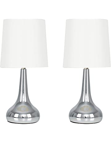 ef0d8e93f Pair of - Modern Chrome Teardrop Touch Table Lamps with Cream Fabric Shades