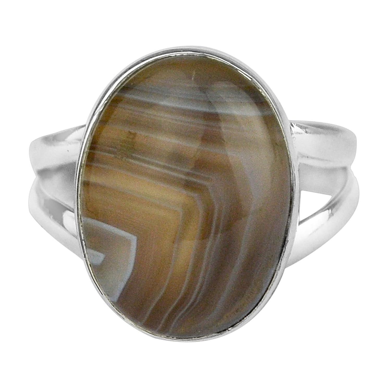 925 Sterling Silver Botswana Agate gemstone Ring Size 7.5 US 4.28 g