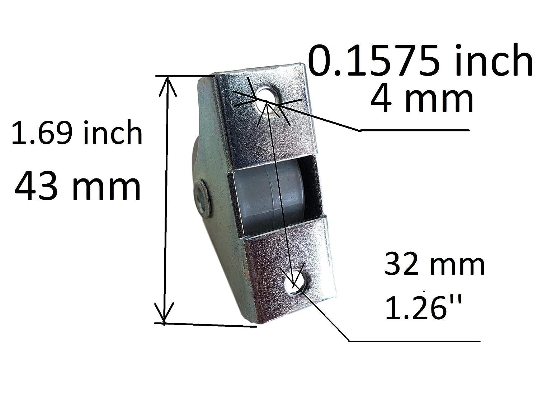 Rueda de goma de 25 mm de pl/ástico giratoria doble ruedas met/álicas con placa muebles electrodom/ésticos y equipo peque/ño mini ruedas Set