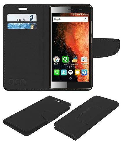 super popular b6964 c65da Acm Leather Flip Wallet Case for Micromax Canvas 6 E485 Mobile Cover Black